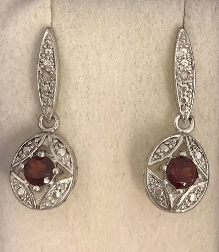 Sterling Silver Deep Red Garnet Earrings with Diamond Accents