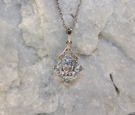 Sterling Silver Aquamarine Pendant with Diamond Accents