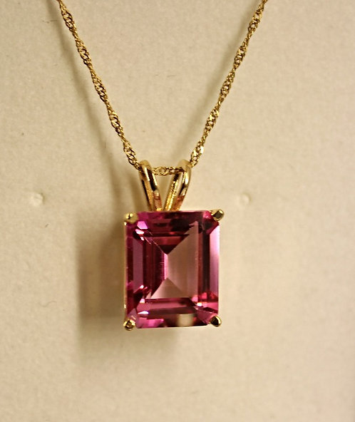 Yellow Gold Passion Pink Topaz