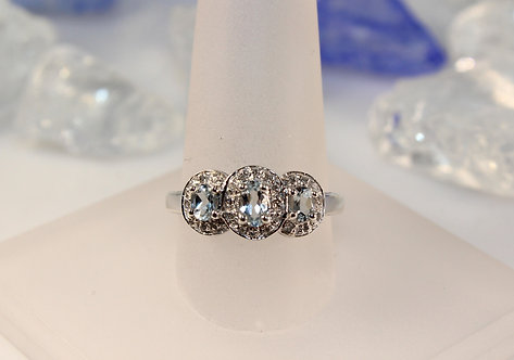 Sterling Silver Aquamarine Ring with Diamond Accents