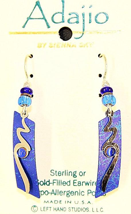 Adajio Blue & Silver Tone Wave Beaded Earrings
