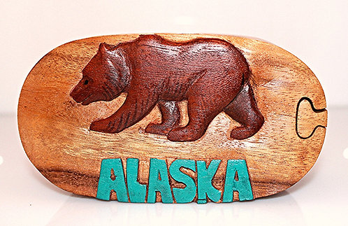 Wood Carved Jewelry Puzzle Box - ALASKA