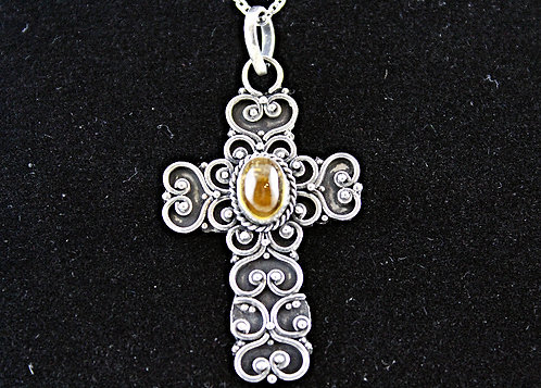 Sterling Silver Cross With Amber