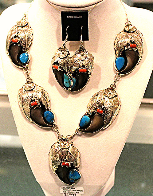 Black Bear Claw Necklace & Earring Set-Navajo Made