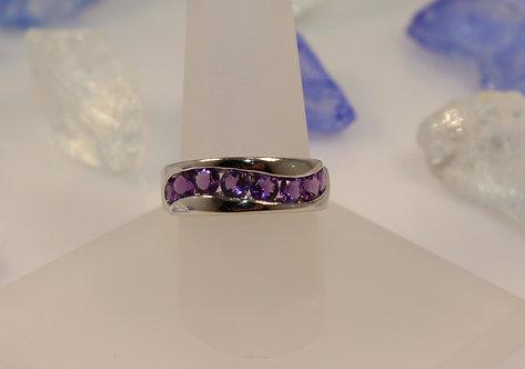 14 KT White Gold Amethyst Ring