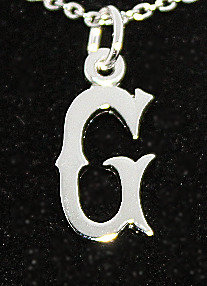 """Sterling Silver  'G'  Pendant With 18"""" Chain"""