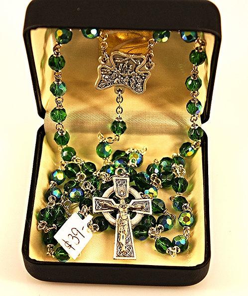 Aurora Green Glass Rosary - Celtic Design