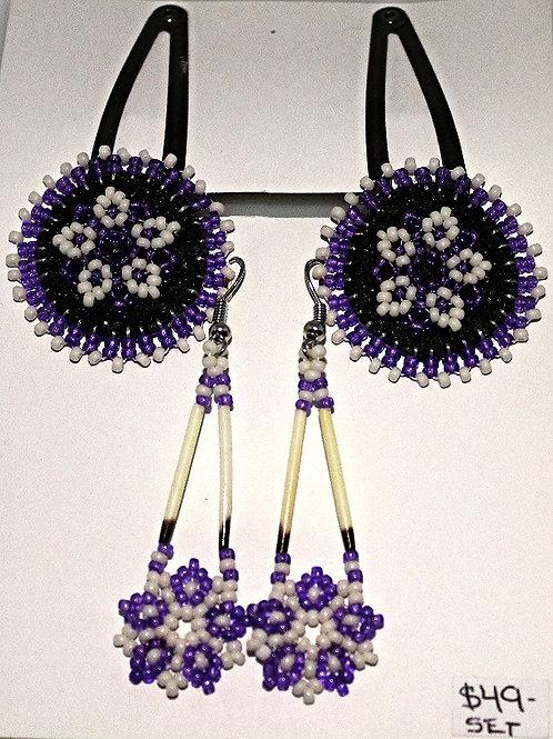 Hand Made Assorted Bead Hair Clip/Earring Set