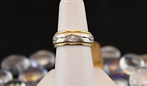 2 Tone 14KT Gold Band -  Diamond Cut Center