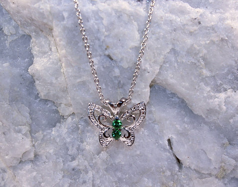 Sterling Silver Emerald Butterfly Pendant with Diamond Accents