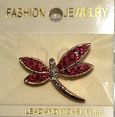 Gold Tone Metal Austrian Crystal Dragonfly Pin