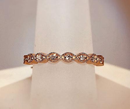 14kt Rose Gold Diamond Band - Size 7