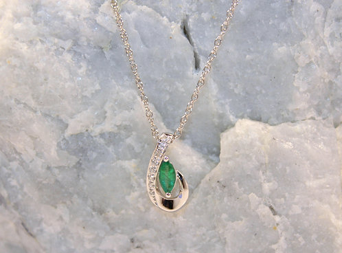 14 KT White Gold Emerald Pendant with Diamond Accents