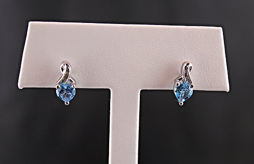 Swiss Blue Topaz Heart Earrings - Diamond Accent