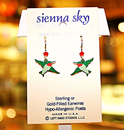 Sienna Green & Red Hummingbird Earrings - P/N 1552