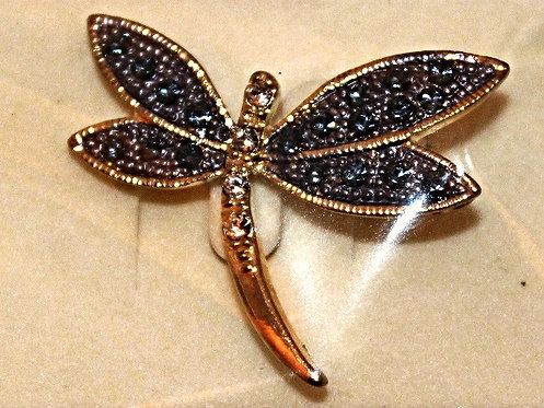 Gold Tone Metal Austrian Crystal Dragonfly Pin