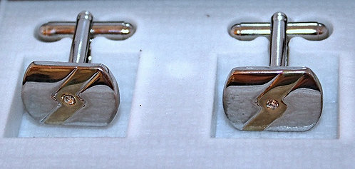 Silver & Gold Tone Cuff Links With CZ Accent