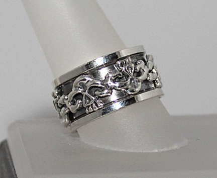 Sterling Silver Skull Spinner Ring