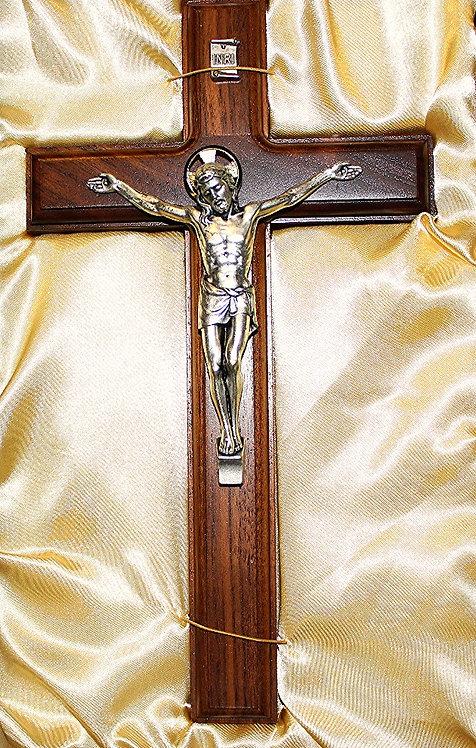 """Walnut & Metal Crafted 11"""" Crucifix"""