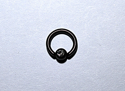 18GA Black Anodized Steel Ball Close-White Crystal