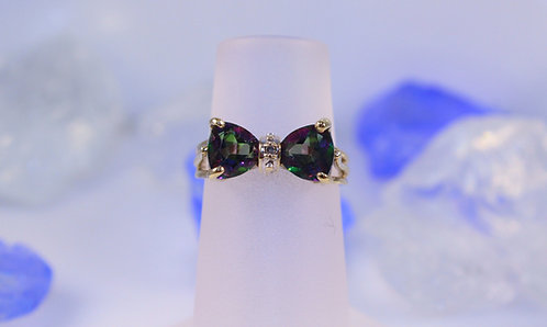 10 KT Gold Mystic Topaz Ring with Diamond Accent