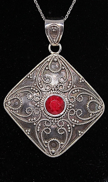 Sterling Silver & Ruby Pendant With Chain
