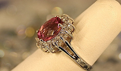 Sterling Silver Ring With Deep Passion Pink Topaz