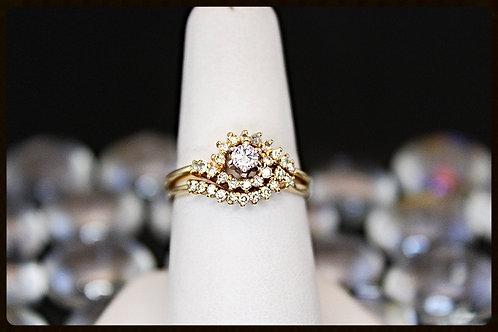 14K Gold /Diamond/Quasar Design Wedding Set