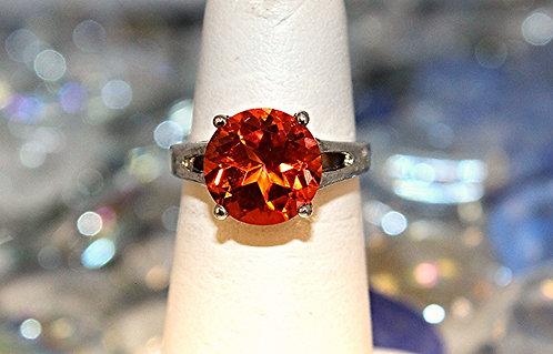 Orange Poppy Topaz Ring In Sterling Silver