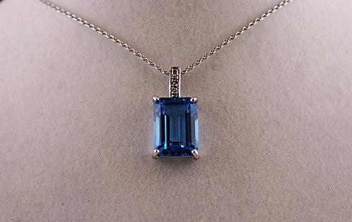 Swiss Blue Topaz Pendant - 4 Diamond Accent