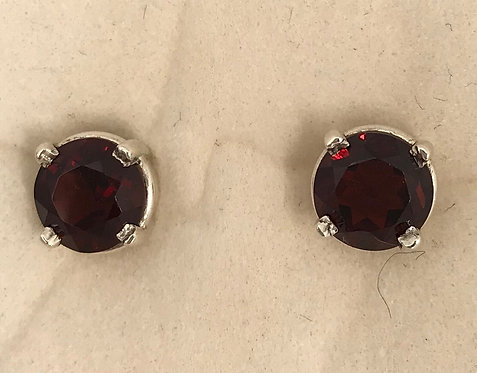 Sterling Silver Dark Red Garnet Earrings