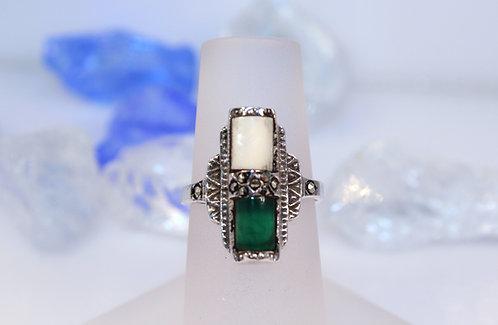 Sterling Silver Green Quartz/M.O.P Ring