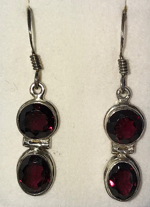 Sterling Silver Dark Red Garnet Earrings