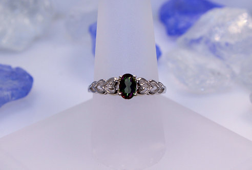 Sterling Silver Mystic Topaz Heart Ring with Diamond Accents