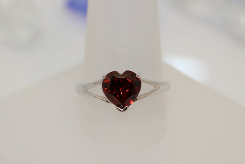 Sterling Silver Garnet Heart Ring