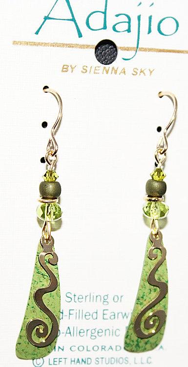 Adajio Light Green Wave/Clef Beaded  Earrings