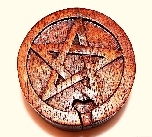 Wood Carved Jewelry Puzzle Box-Pentacle