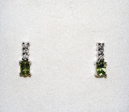 Peridot, Diamond And 14KT White Gold Earrings