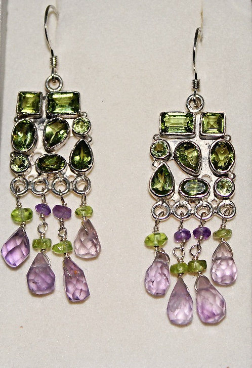 Sterling Silver Peridot & Amethyst Earrings