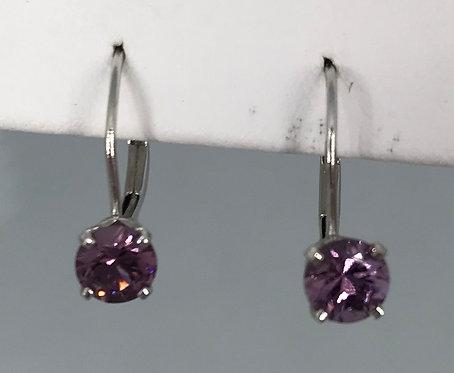 14 KT White Gold Light Purple Garnet Earrings