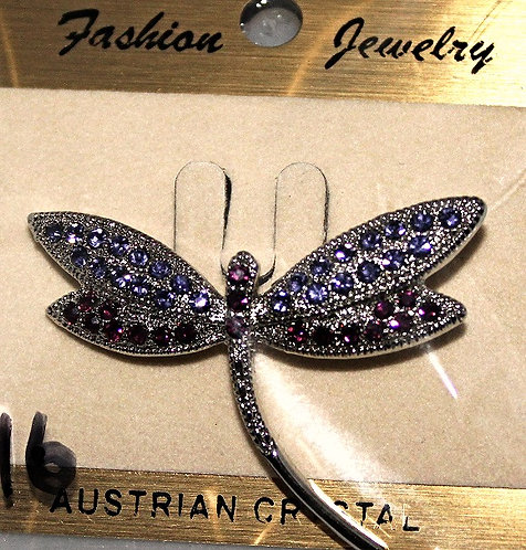 Silver Tone Metal Austrian Crystal Dragonfly Pin