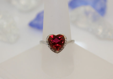 Sterling Silver Cherry Topaz Ring with Diamond Accents