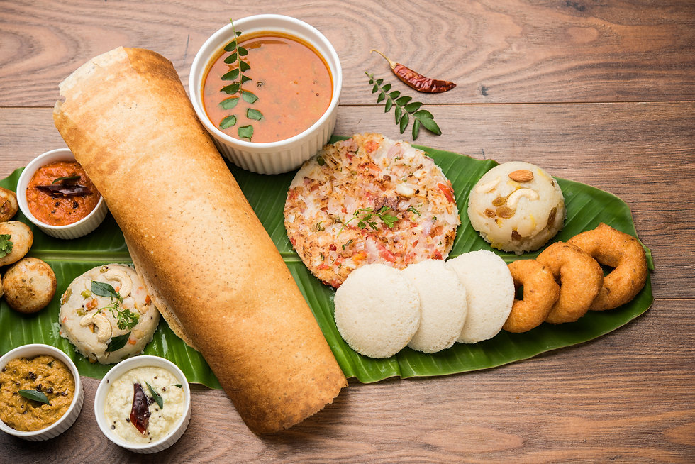 Group of South Indian food like Masala D