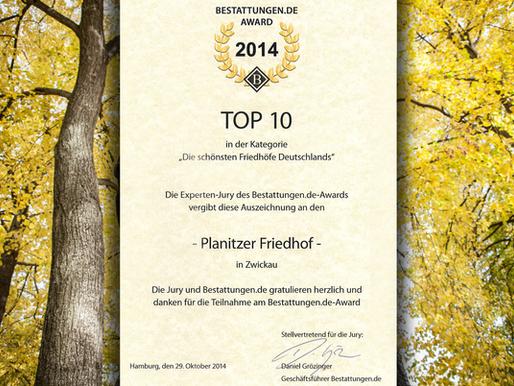 Friedhof Planitz gehört zu den 10 schönsten Friedhöfen Deutschlands
