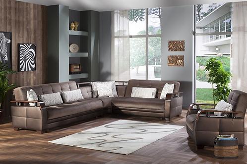 Natural Prestige Brown Sectional Sofa
