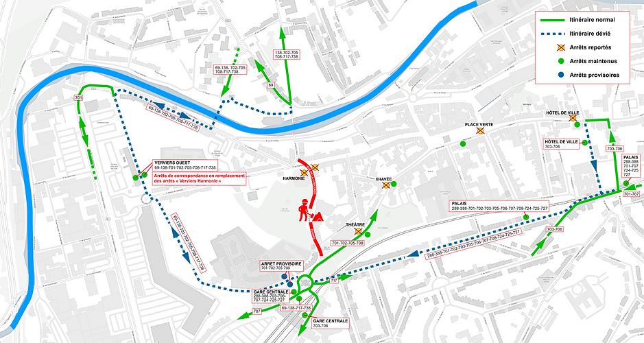 Plan de déviation des bus Verviers Ville Conviviale
