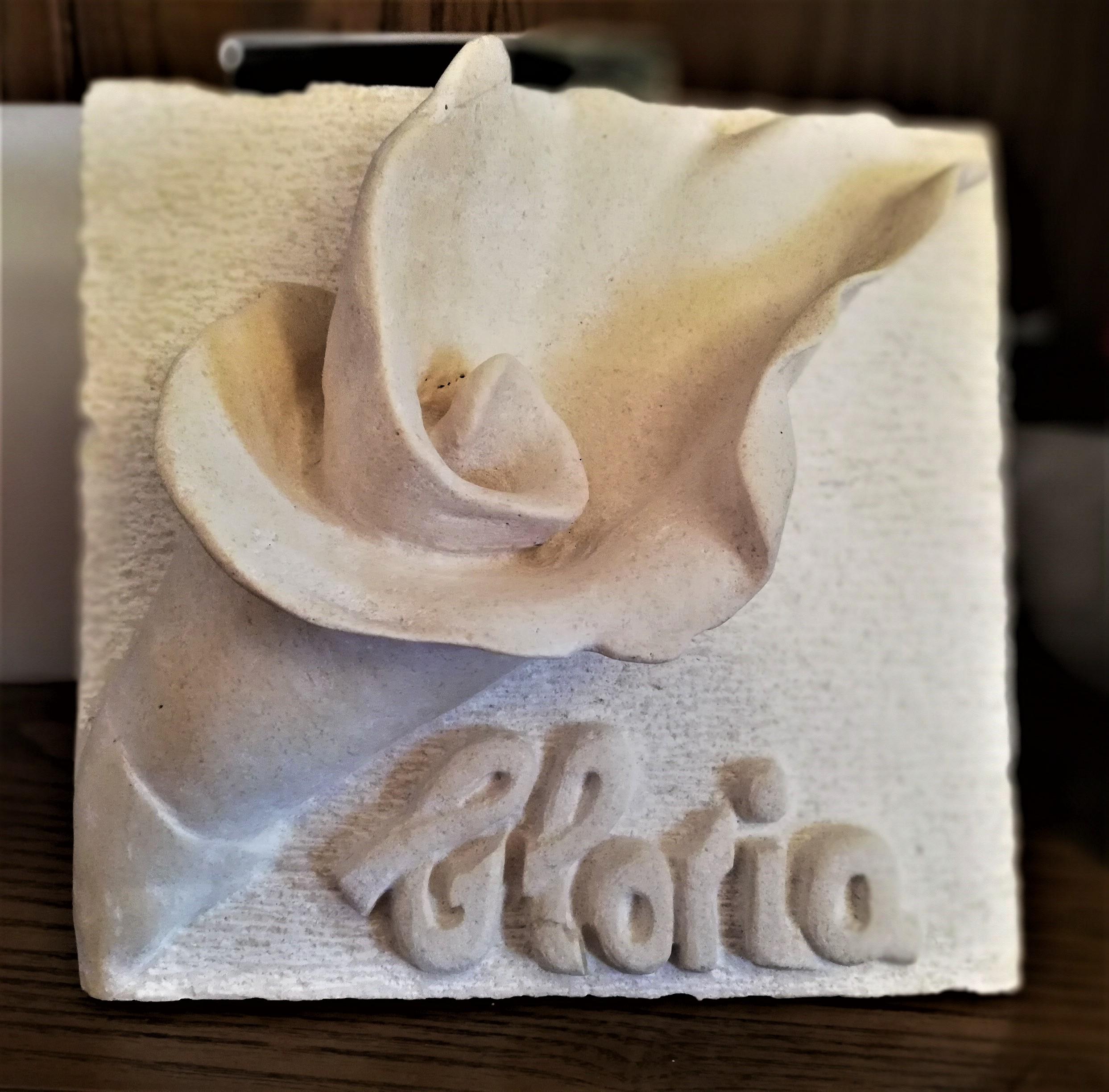 Flor-talla-piedra-artesania-caliza blanc
