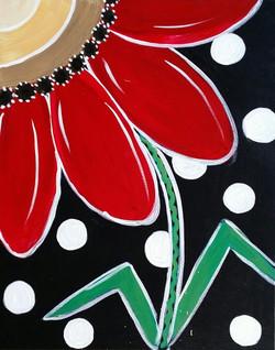 POLKA DOT RED FLOWER