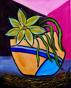 Flower by Pink Wall - SOLD