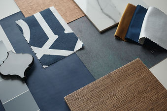 Moodboard. Material samples. Blue, gray,